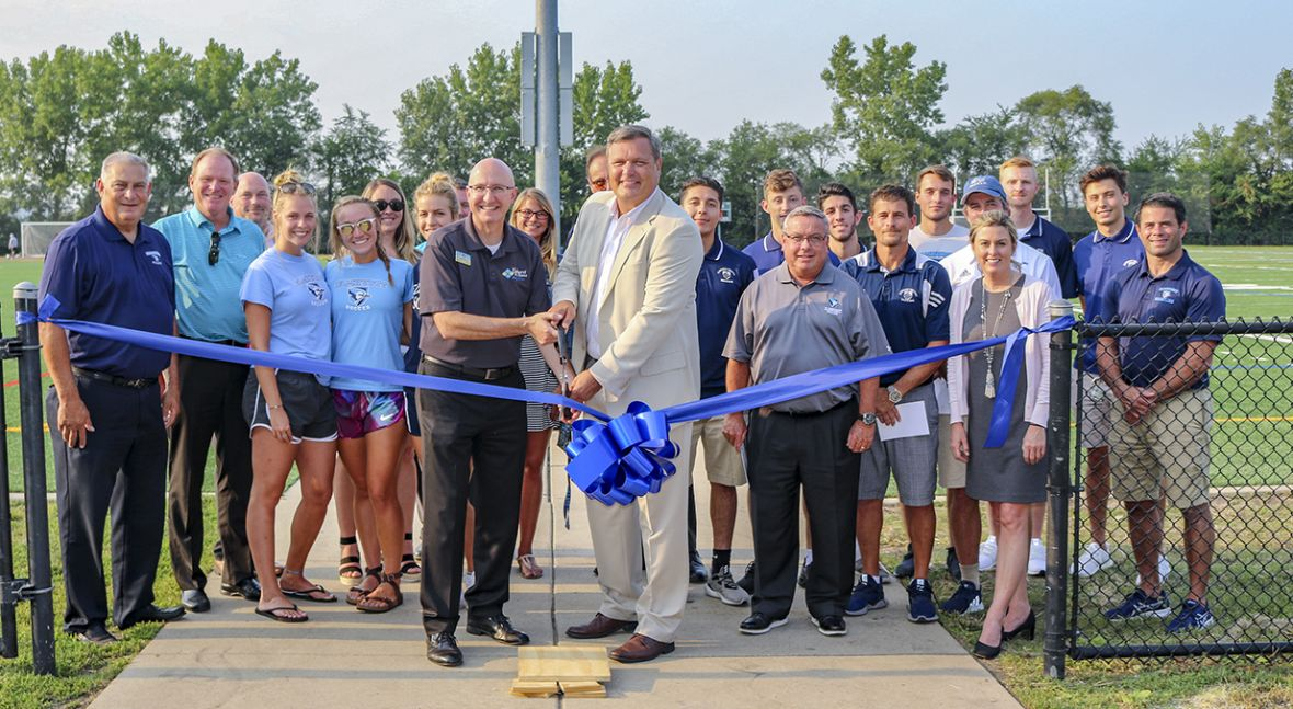 Elmhurst Park District Park Board, Sports Affiliate Groups and Park District Staff celebrate ribbon cutting